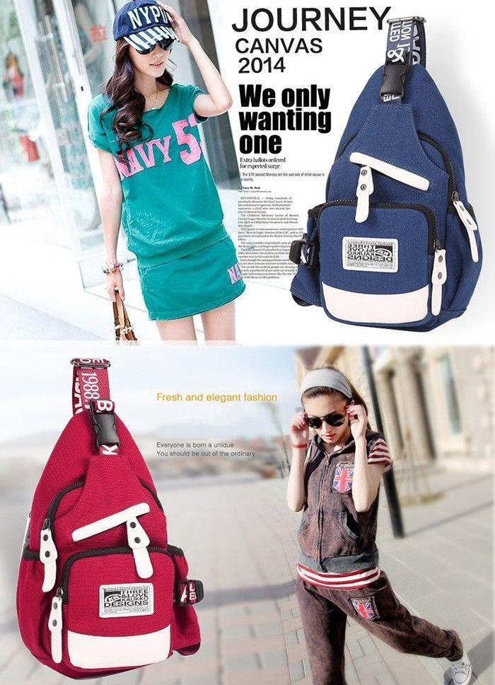 Kaukko Unisex Sling Bag Shoulder Bags Adjustable Canvas 3L Outdoor Gear Leather…