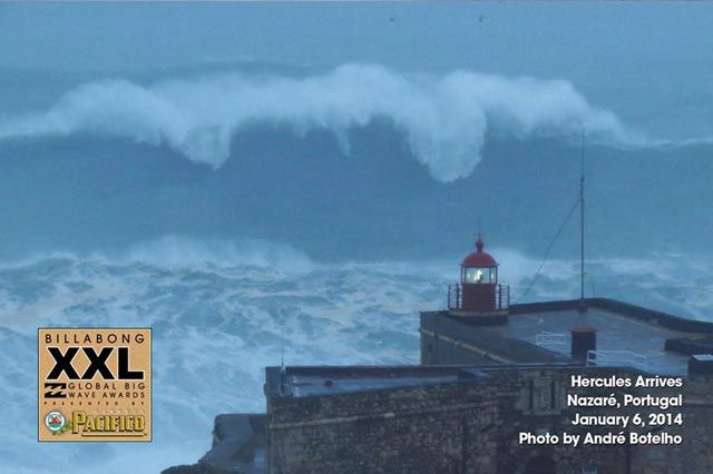 Hercules hit Nazaré, Portugal just before dark with the swell growing with awesome fury. #hercules storm #surfinportugal #giant waves #mcnamara