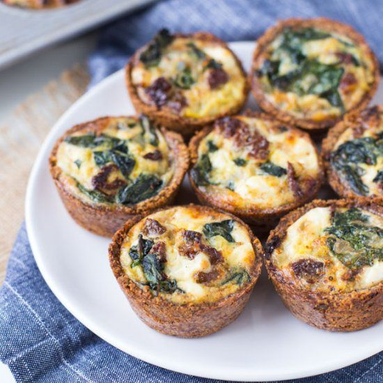 These Spinach Goat Cheese Mini Quiches are perfect for a Mother's Day brunch!