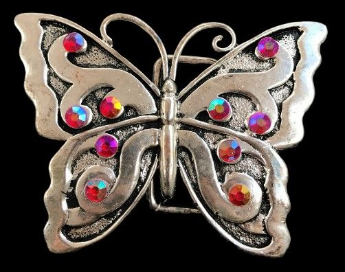 Red Rhinestone Butterfly Butterflies Insect Belt Buckle #butterfly #butterflies #rhinestone #red #redbutterfly #buckle #beltbuckle