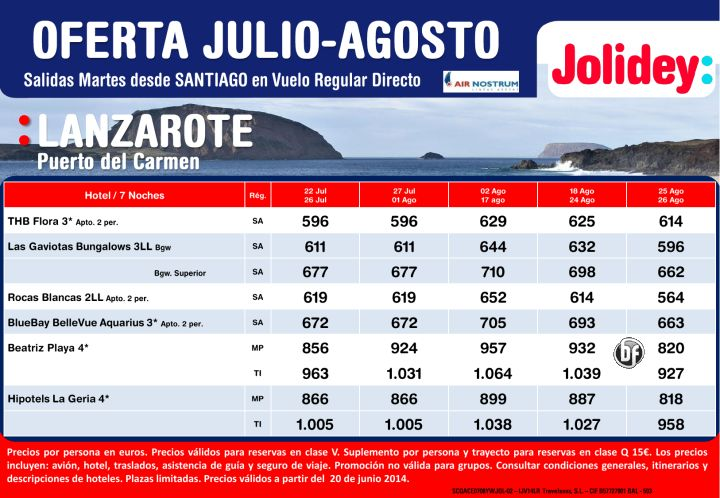 Oferta Lanzarote (Puerto del Carmen) julio-agosto, Salidas Martes desde Cía Air Nostrum desde 564€ ultimo minuto - http://zocotours.com/oferta-lanzarote-puerto-del-carmen-julio-agosto-salidas-martes-desde-cia-air-nostrum-desde-564e-ultimo-minuto/