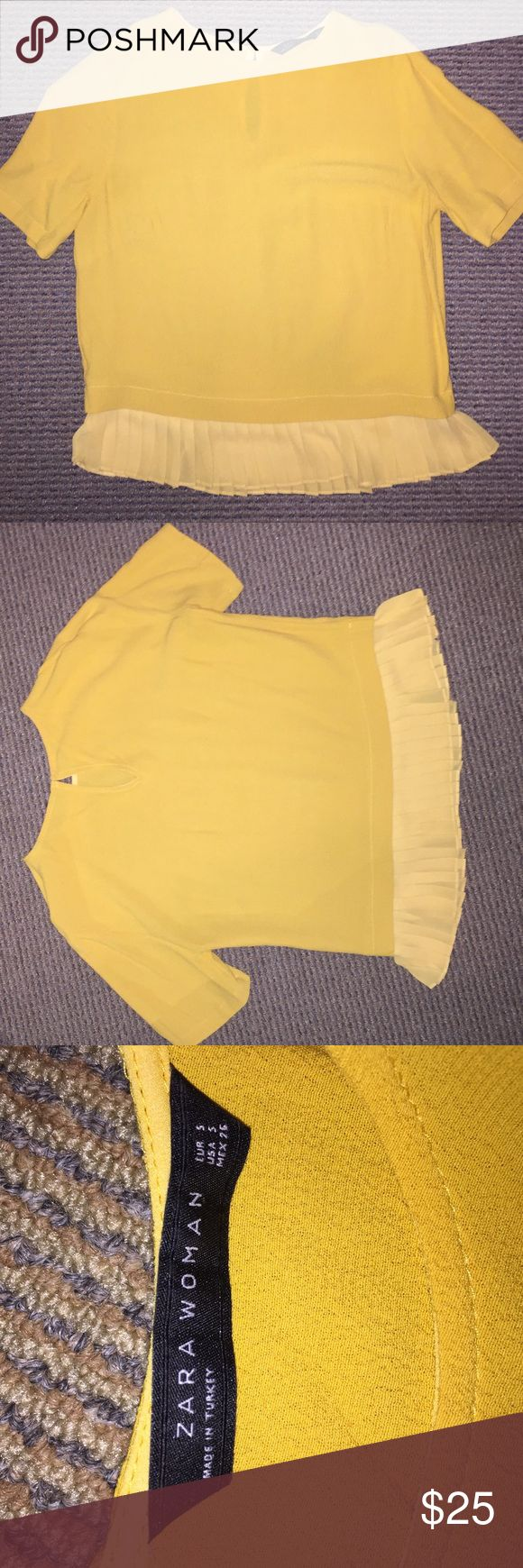 Zara top Canary yellow top, hits at the waist and buttons in the back Zara Tops Blouses