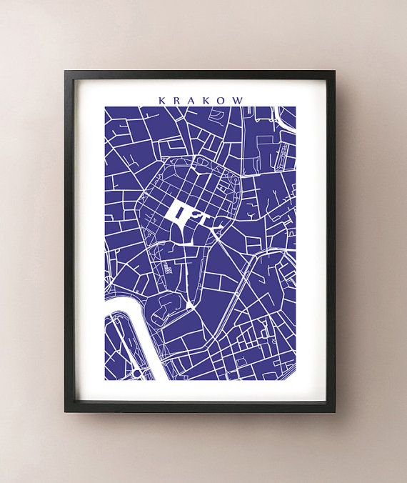 Krakow City Map Art Poster Print Cracow Poland by CartoCreative, $20.00