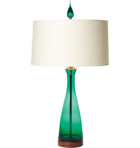 Emerald Carafe Table Lamp - Blenko Handblown Glass | Rejuvenation #midcenturymodern #tablelamps #blenko #coloredglass