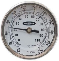 """Homebrew Finds: Great Deal - More Beer: 3"""" Face, 2.5"""" Probe, 1/2 NPT Thermometer - $15.95"""