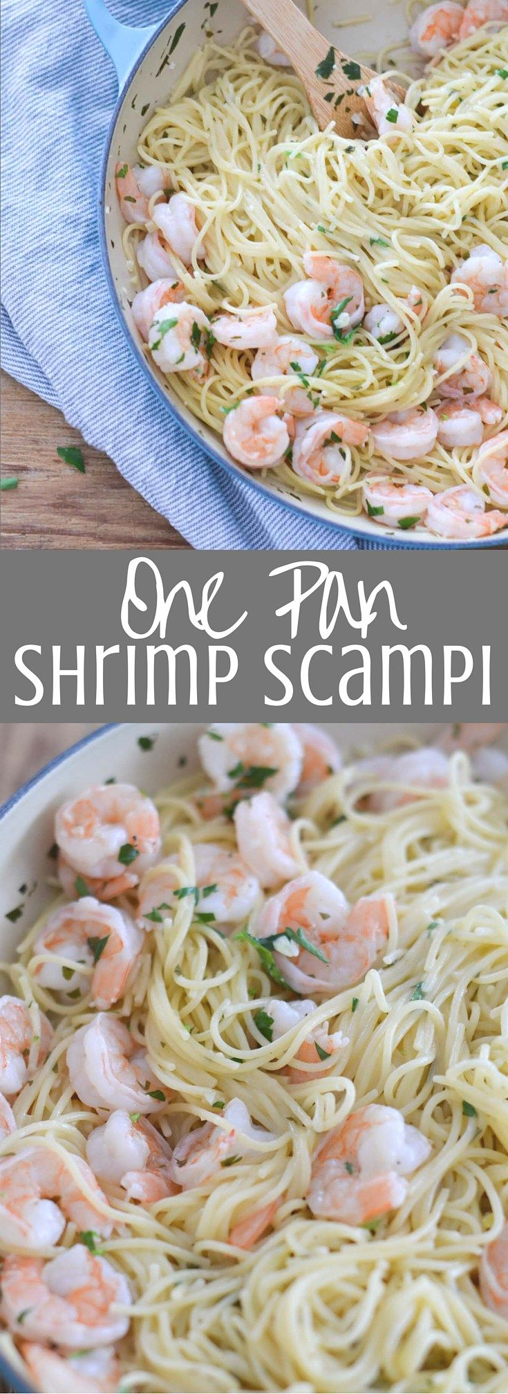 One Pan Shrimp Scampi is filled with shrimp, garlic, lemon, white wine, and fresh parsley and ready in about 25 minutes. The perfect weeknight dinner! Clickthrough for the full recipe and pin for later!