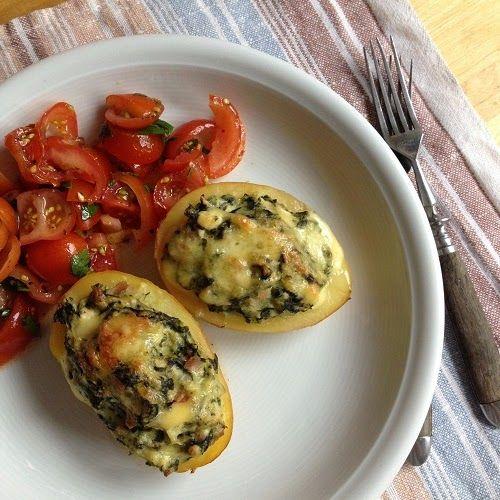 Greenway36 | just good food: überbackene Pellkartoffeln mit Spinat-Feta-Füllung