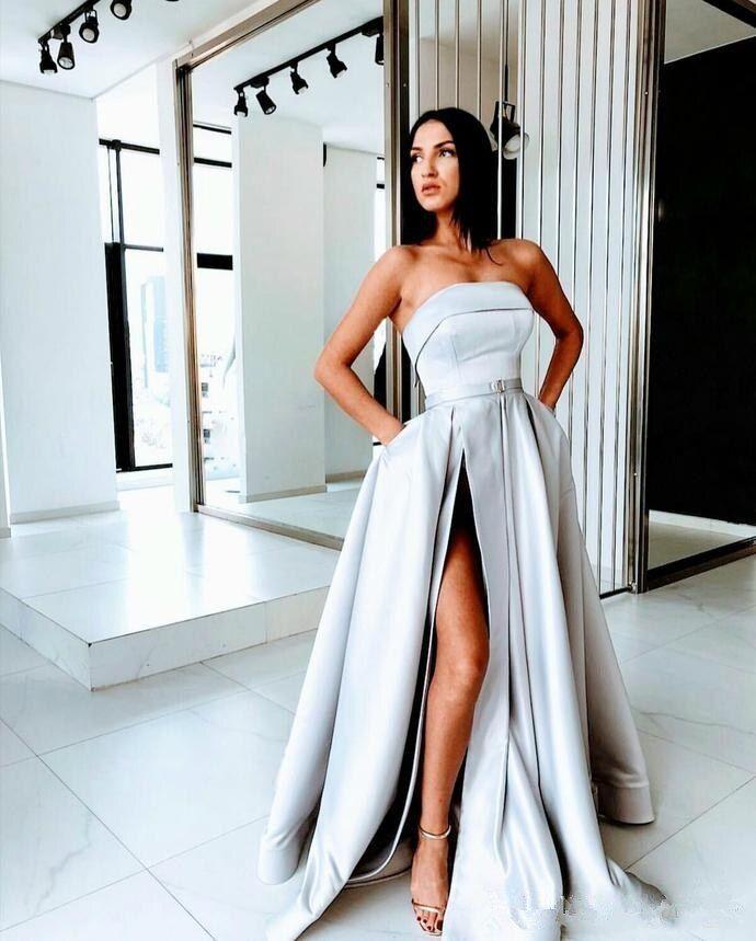 Strapless satin split prom dress NA01