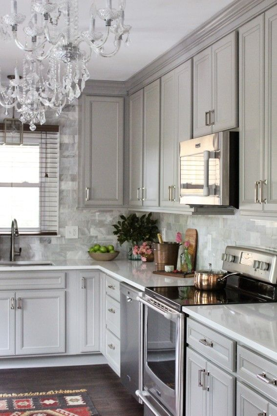 Classic Traditional Gray Gold And Marble Kitchen Renovation Diamond Cabinets Diy Before And After
