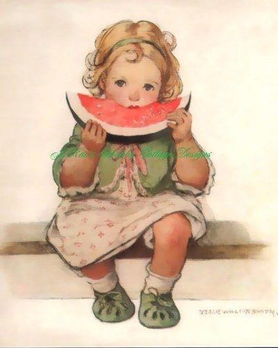 Sweet Little Girl Eating Watermelon Vintage Print on Cotton 8x10 | JRaesShabbyCottageDesigns - Handmade Supplies on ArtF