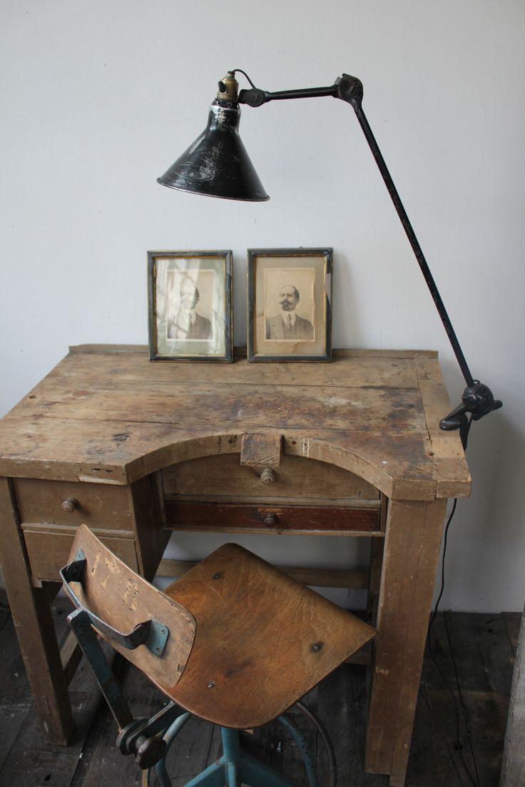 Γγρ│ superbe ancienne lampe industrielle Gras n°201 abat jour dessinateur et superbe petit bureau