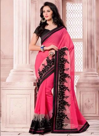Marvelous Pink Embroidery Work Georgette Designer Saree http://www.angelnx.com/Sarees/Designer-Sarees