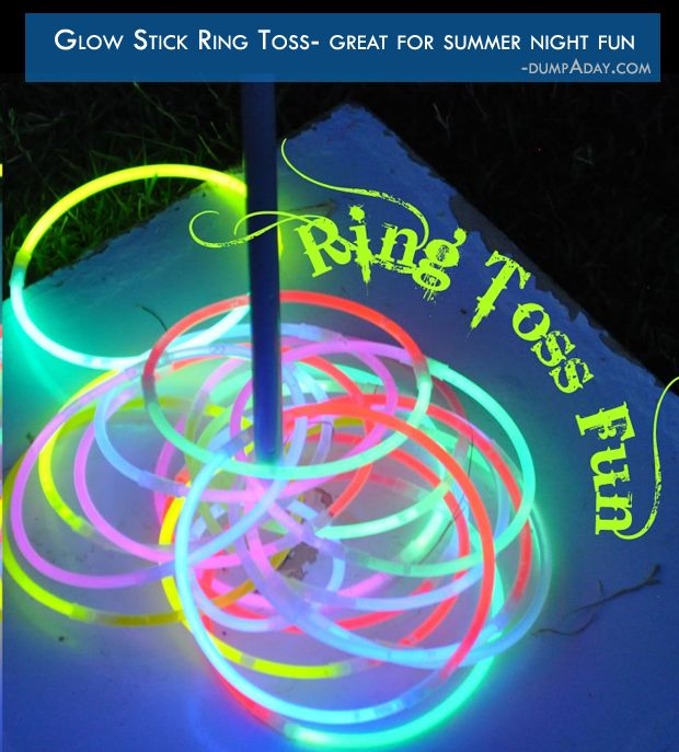 Who says the fun has to stop when the sun goes down? Glow in the dark ring toss is a cool way to have some fun on warm Summer nights!
