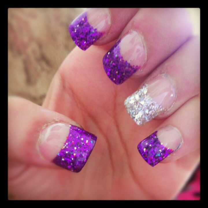 Purple Nail Designs For Prom: Purple Silver Tip Nails