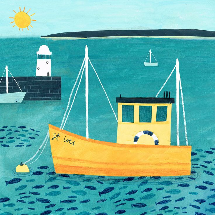 St Ives Fishing (HTC02) Boats and Harbour Canvas by Hannah Tolson http://www.thewhistlefish.com/product/htc02-st-ives-boat-canvas-by-hannah-tolson