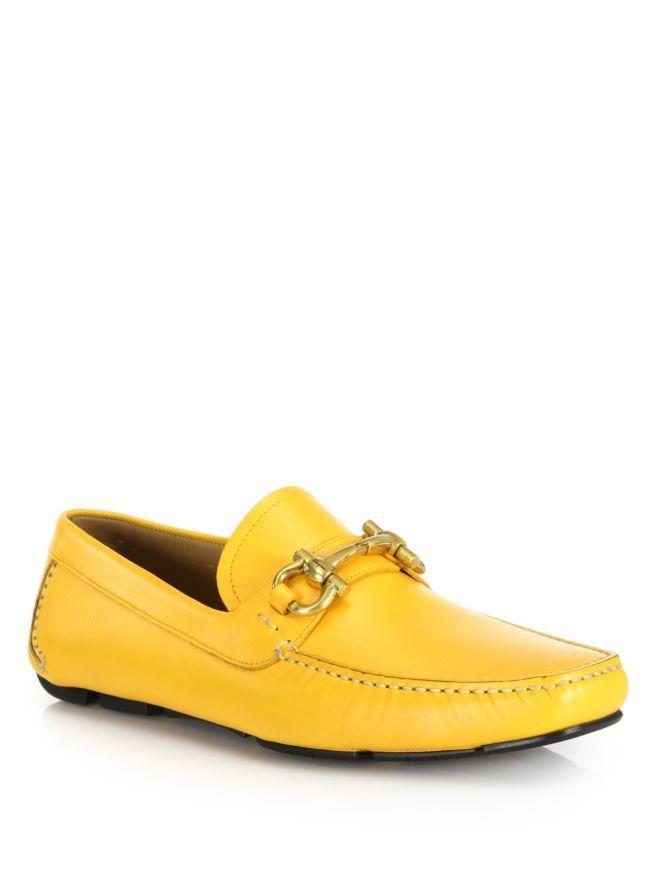 45979296489 Salvatore Ferragamo Parigi Leather Drivers Yellow Men Shoes Loafers  [400087623061]