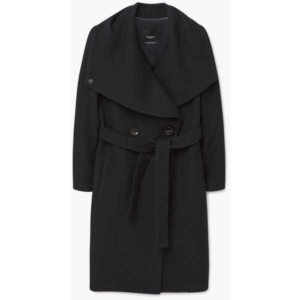 MANGO Wide Lapel Wool-Blend Coat ($150) ❤ liked on Polyvore featuring outerwear, coats, wool blend coat, mango coats, long sleeve coat, wide lapel coat and fur-lined coats