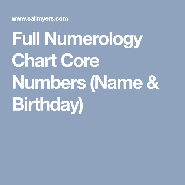 Full Numerology Chart Core Numbers Name Birthday Birthdaynumerology
