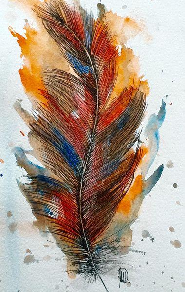 Feder -Original-Aquarell fine art von *zeitgenössische kunst von maria-mercedes* auf DaWanda.com
