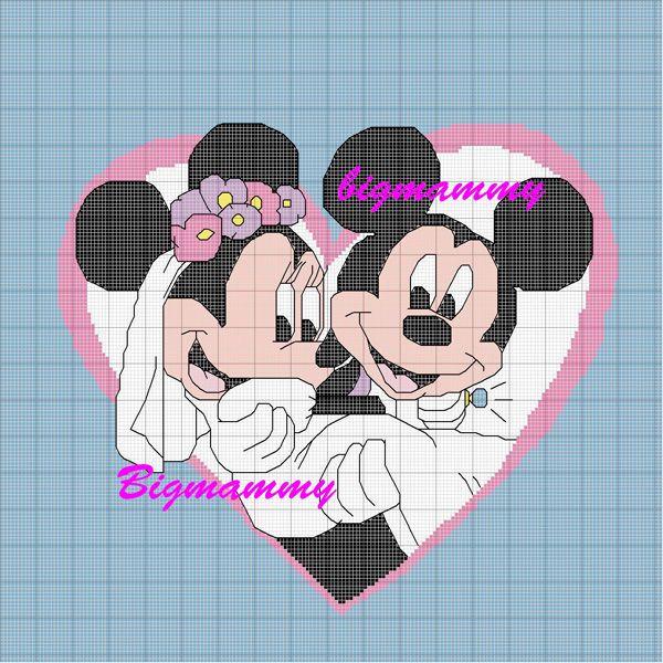 Schema punto croce Minni-topolino-sposi