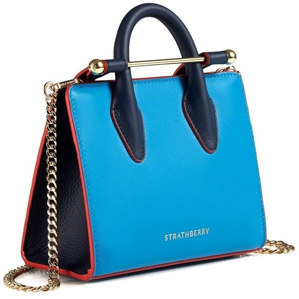 The Strathberry Nano Tote Bi Colour Electric Blue/Navy ❤ liked on Polyvore featuring bags, handbags, tote bags, navy blue tote bag, hand bags, mini tote bags, leather man bags and purse tote