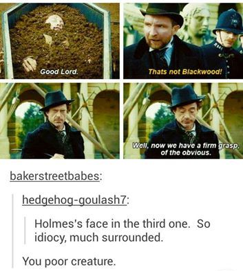 Holmes sass is the best sass. (Please forgive the fact that this is not, in fact, BBC. My love for the Downey Jr. Holmes will not be suppressed.)