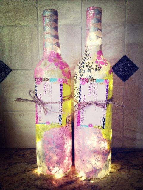 Wine Bottle Lights Wine Bottle Lamp by cutelittlecanvases on Etsy, $60.00