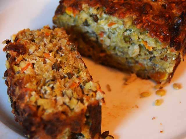 Nut Roast WIth Lentils - An Easy Vegetarian Recipe. Lovely as a roast dinner - and cold for picnics and packed lunches