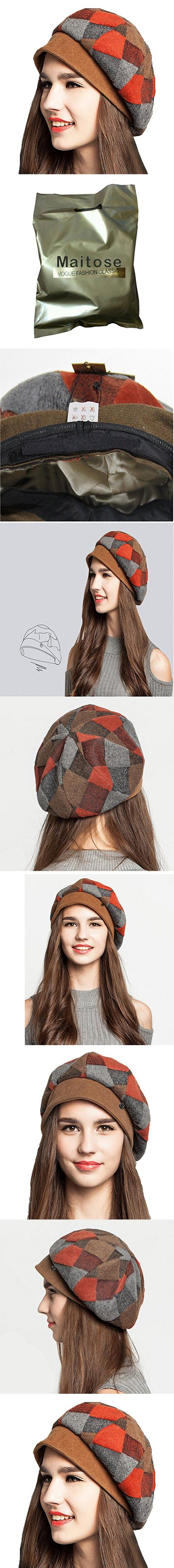 Maitose Women's Scottish Plaid Wool Peaked Cap Beret Orange Red