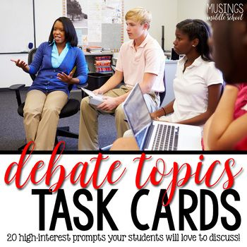 These Task Cards have 20 high-interest, student-centered Debate Topics that your kids will LOVE arguing over! Contains: • Suggested activity for using these task cards in your classroom (full lesson plan included!) • Materials for suggested activity • 20 task cards (available in both color