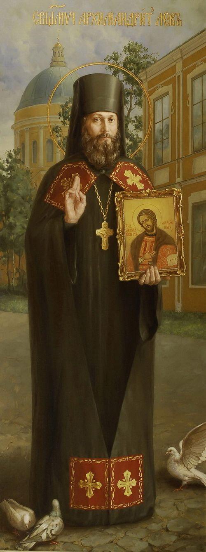 Священномученик архимандрит Лев (Егоров). Икона Свято-Троицкого собора Александро-Невской Лавры.