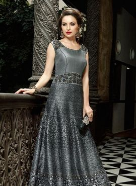 662d4a1263f2d2 Multicolor designer Indian floor length art silk gown with scarf ...