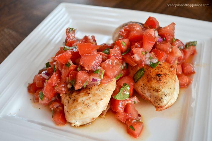Bruschetta Chicken - ateaspoonofhappiness.com Full recipe