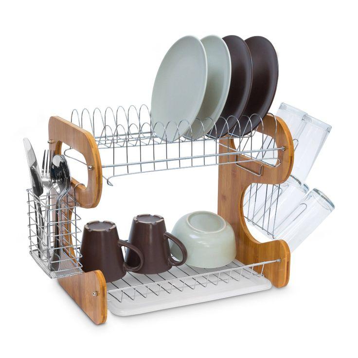 Relaxdays Draining Rack with 2 Levels 35 x 51 x 26.5 cm 2 Shelf Large Kitchen Dish Rack Bamboo & Stainless Steel With Drip Tray And Cutlery Basket Dish Drainer Metal, Natural: Amazon.co.uk: Kitchen & Home