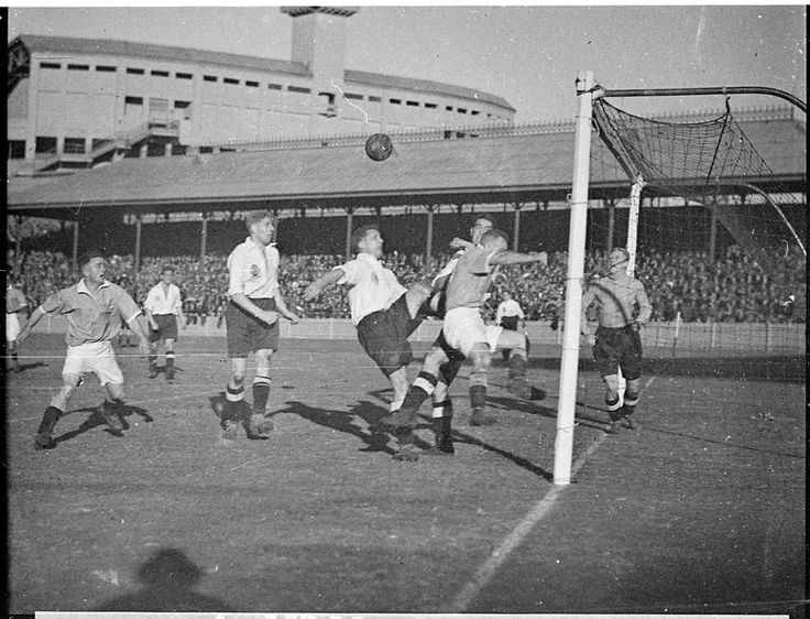 Goalmouth scramble in the game between New South Wales and the touring England amateur team, Sydney Showgrounds, 3 July 1937. England won 3-1. Sam Hood Collection, Mitchell Library, State Library of New South Wales: http://www.acmssearch.sl.nsw.gov.au/search/itemDetailPaged.cgi?itemID=36246