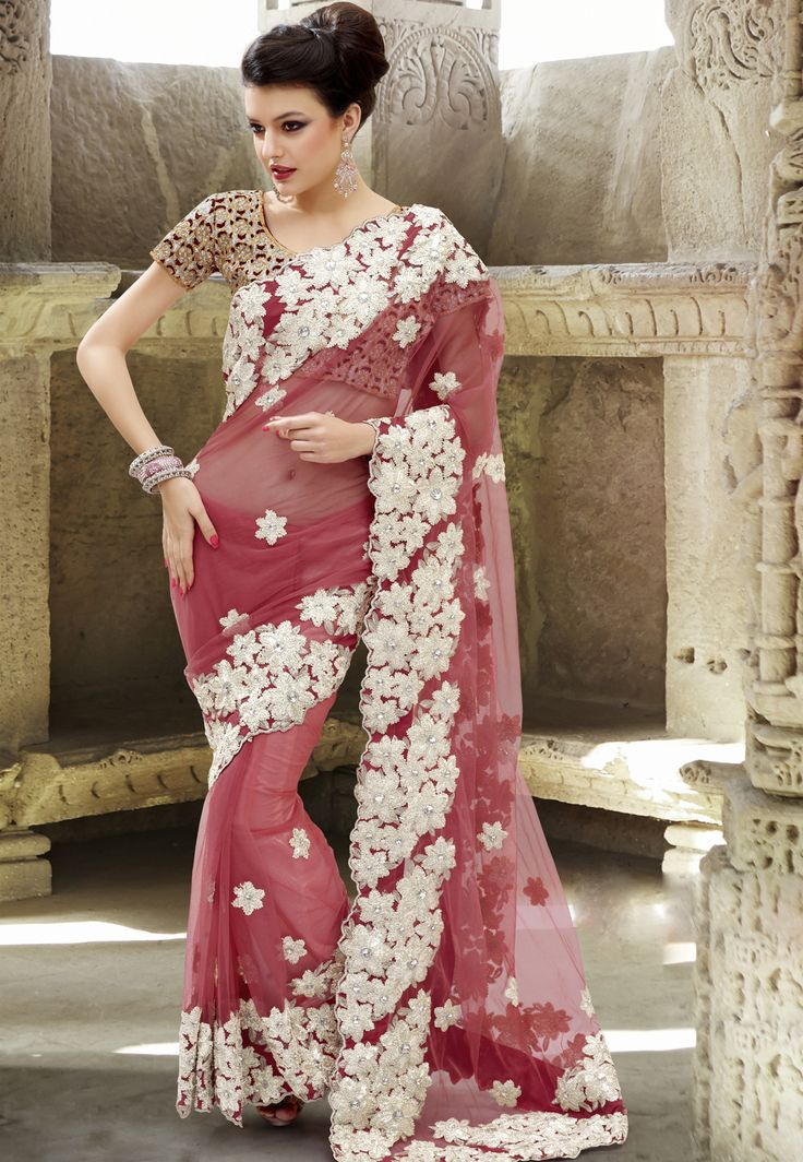 Light #red #Net #Saree With Blouse @ $156.25