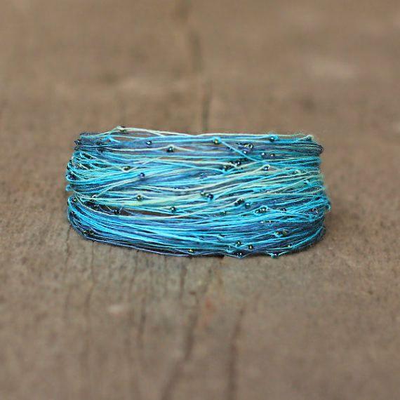 Turquoise Bracelet Turquoise Blue Fiber Bracelet by Naryajewelry
