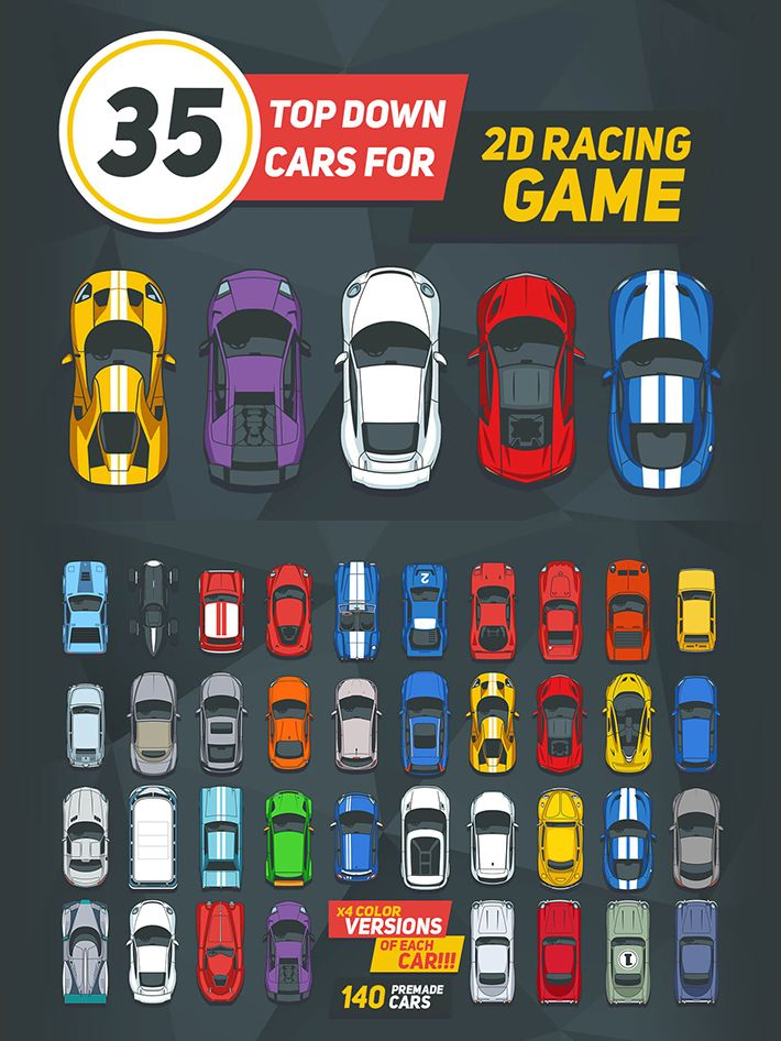 35 Top Down Cars For 2d Racing Game Craftpix Net Racing Games Top Down Game Games
