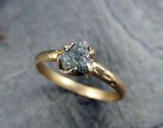 Raw Diamond Engagement Ring Rough Uncut Diamond by byAngeline