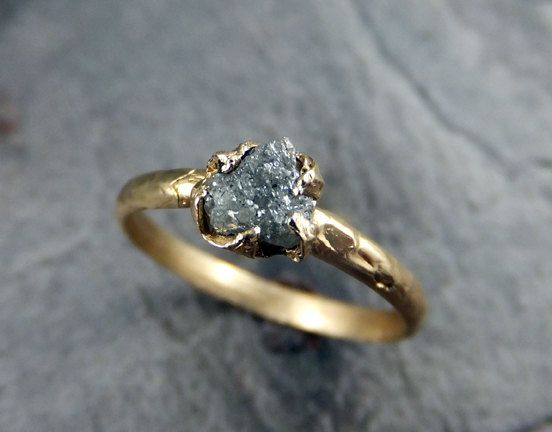 Raw Diamond Engagement Ring Rough Uncut Diamond by byAngeline