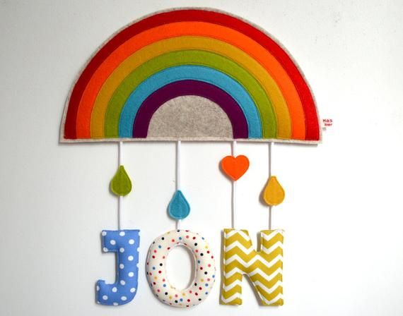 Nameplate Door Plate Wall Decoration Rainbow Felt And