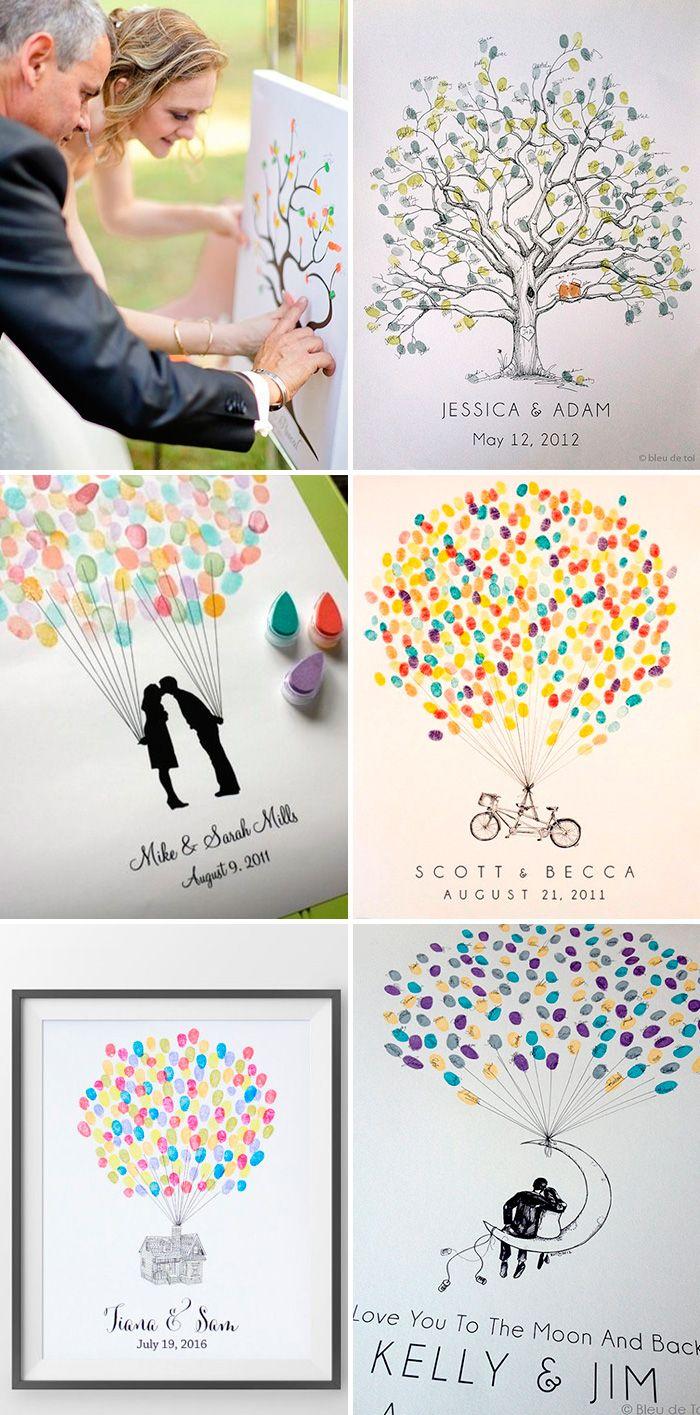 Huellas de los invitados - Ideas creativas para el libro de firmas