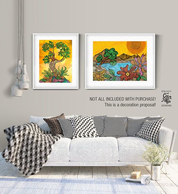 Landscape Wall Art, Landscape Print, Nature Prints, Nature Wall Art,Flowers Printable, Pink Flower, Living Room Decor, Mountain Print   INSTANT DOWNLOAD  This print was created by The Color Paths team using markers and was edited digitally. Our team consists of an illustrator, a graphic