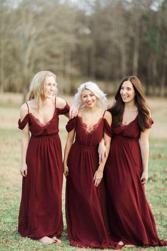 burgundy rustic chic wedding bridesmaid dresses/ rustic fall wedding ...