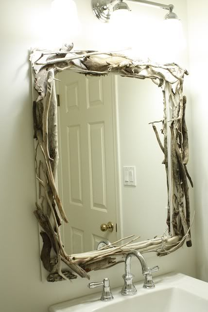 A fun, creative, inexpensive way to design your mirror! It's called Driftwood Mirror.
