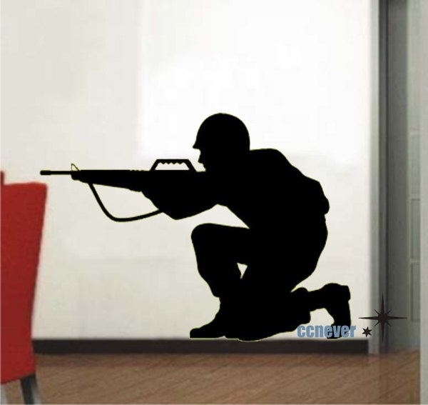 Military Soldier Army Men ----Removable Graphic Art wall decals stickers home decor. $27.00, via Etsy.