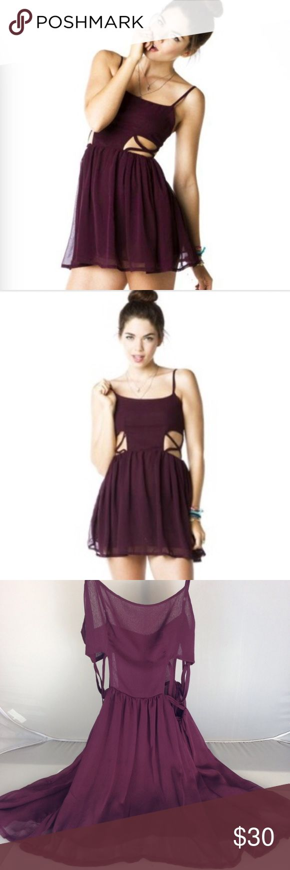 Brandy Melville Maroon Cutout Pauline Dress ✨ Bundle & Save ✨ Great Condition ✨ One Size, But would fit an x-small up to a Medium with a smaller bust ✨ Brandy Melville Dresses Mini
