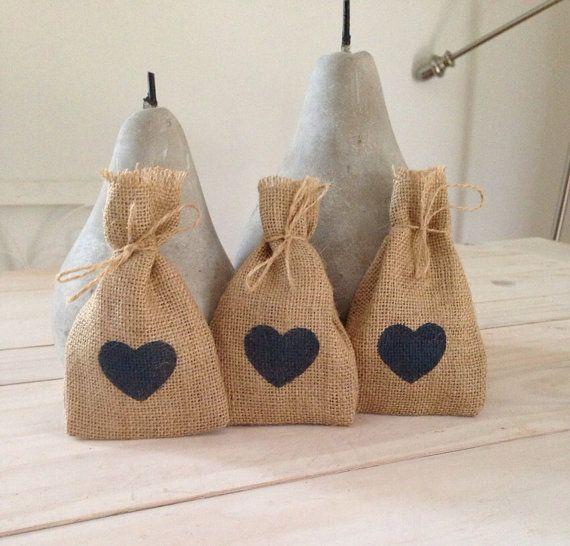 100 Navy Blue Heart  Hessian/ Burlap Wedding Favor by BreeWestwood, $150.00