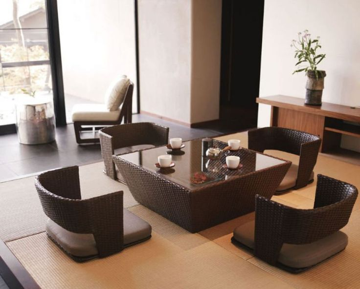 Japanese Living Room Style With Tatami Mats And Using Zaisu Chairs And Glass Top Table
