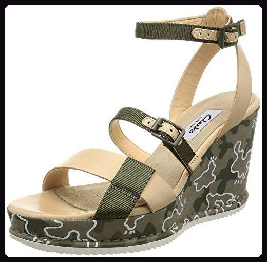 Clarks Damen Adesha Art Knöchelriemchen, Grün (Khaki Combi), 38 EU - Sandalen für frauen (*Partner-Link)